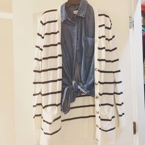 •Striped Cardigan•